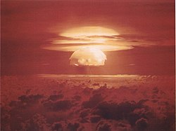 Mushroom cloud from the largest nuclear test the United States ever conducted, Castle Bravo.
