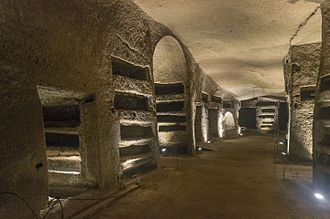 Catacombs of San Gennaro - One of the halls with carved loculi.
