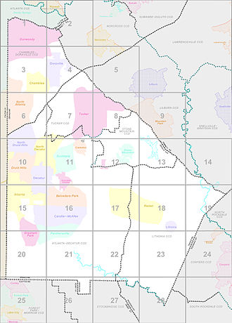 Census county division - Census 2000 Block Map of DeKalb County, Georgia, showing the county's five CCDs (delineated by the dark lines).