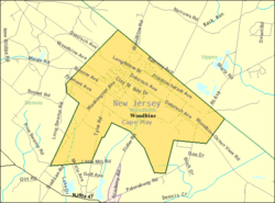 Census Bureau map of Woodbine, New Jersey