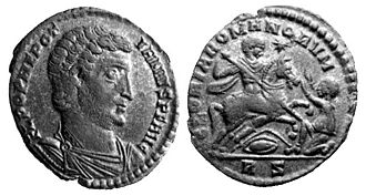 Nepotianus - Nepotianus on a coin bearing  his claimed title of Augustus