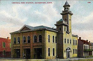 Central Fire Station (Davenport, Iowa) - Postcard showing the Central Fire Station not long after its completion