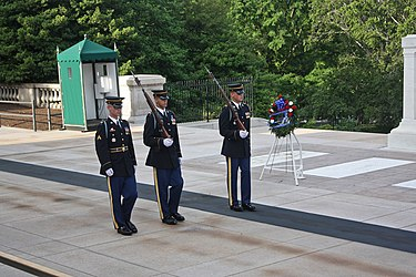 Changing of the Guard at the Tomb of the Unknowns in Arlington National Cemetery.jpg