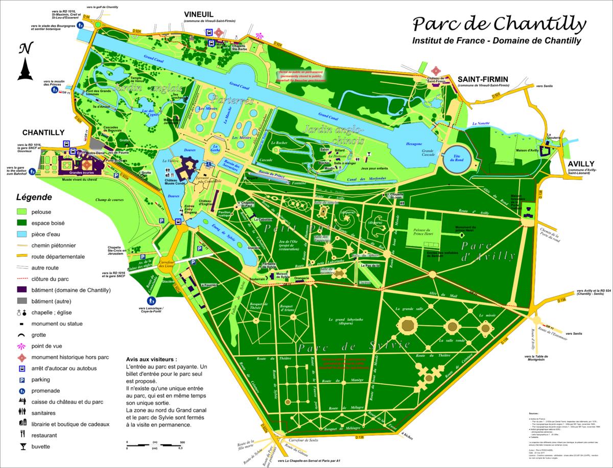 Chantilly (60), plan du parc du château.png