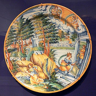 Tin-glazed pottery - Maiolica charger from Faenza, after which faience is named, c. 1555; Diameter 43 cm, Tin-glazed earthenware