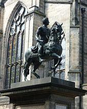 Lead equestrian statue