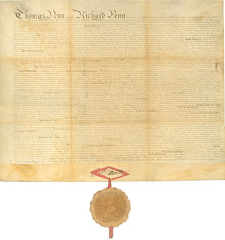 1755 Charter creating the College of Philadelphia Charter of the College of Philadelphia (University of Pennsylvania) 1755.jpg