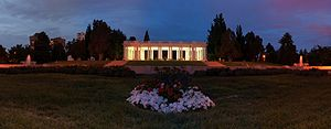 Cheesman Park, Denver - Panorama of the Cheesman Park Pavilion at dusk.