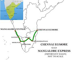Chennai Egmore - Mangalore Central Express Route map.jpg