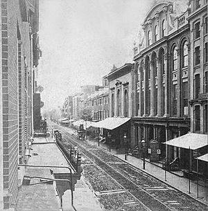 Chestnut Street Theatre - Third Chestnut Street Theatre on the right (ca. 1860s)