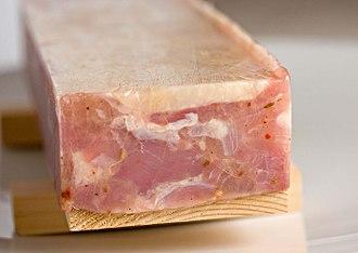 Transglutaminase - Transglutaminase treated chicken terrine.