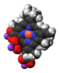 Space-filling model of the chlorophyllin molecule, sodium salt