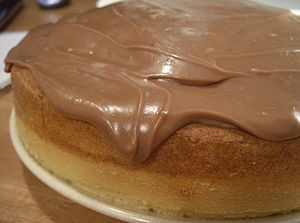 An iced cake. Iced with Cookbook:Chocolate Sou...