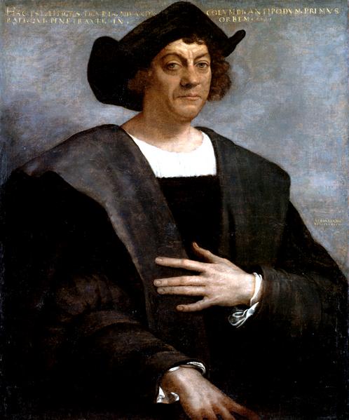Retrato de hombre, óleo sobre lienzo de Sebastiano del Piombo, fechado en 1519, con una leyenda de dudosa autenticidad que lo identifica como el ligur Colombo.</b>.