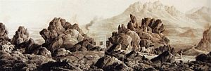 Sir Lowry's Pass - Summit of Sir Lowry's Pass - Toll-keeper's house 1832 pen and wash drawing by Charles D'Oyly