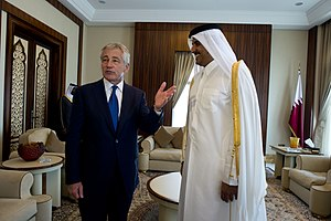 Tamim bin Hamad Al Thani - Sheikh Tamim with U.S. Secretary of Defense Chuck Hagel, 10 December 2013
