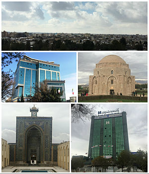 Clockwise from the top: Kerman's skyline; Jabaliyeh dome – ancient museum of stone; Saderat Bank tower; Jameh Mosque; and Burj Av'al (Tower One)