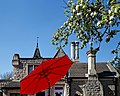 City of London Cemetery and Crematorium ~ Café patio garden red umbrella.jpg