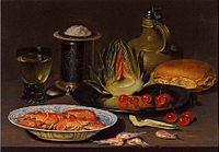 Clara Peeters. Bodegon con alcachofa, cangrejos y cerezas, c.1618. Oil on board.jpg