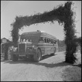 Closing of the Jerome Relocation Center, Denson, Arkansas. A bus load of Jerome residents are seen . . . - NARA - 539774.tif