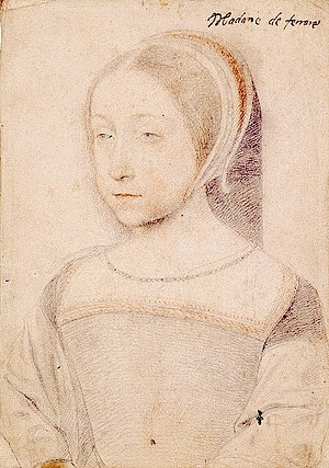 Renée of France - Portrait by Jean Clouet, ca. 1520.