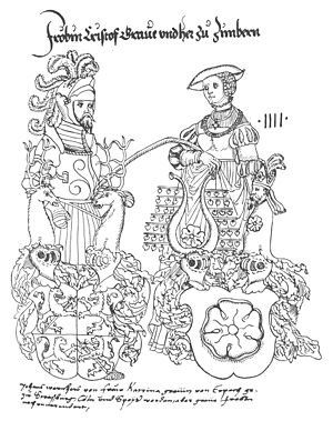 Froben Christoph of Zimmern - Froben and his wife Kunigunde, with their heraldic achievements