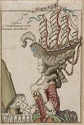 Amerikanischer Unabhängigkeitskrieg: Frisur in Schiffform (um 1778) (Quelle: Wikimedia)