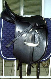 A dressage saddle