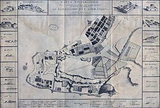 Portuguese invasion of the Banda Oriental (1811–12) - A map of the then-Portuguese town of Colônia do Santíssimo Sacramento, 1731