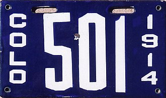 Vehicle registration plates of Colorado - Image: Colorado 1914 license plate Number 501