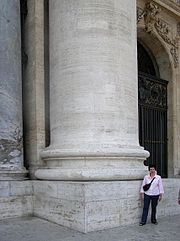 A column, one of eight, on Saint Peter's Basilica, Vatican City, Italy. This picture shows how massive columns can be.