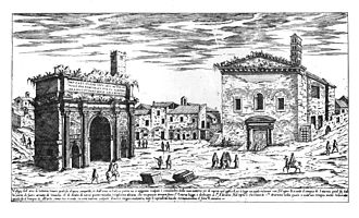 Sant'Adriano al Foro - The church, on the right, around 1500.
