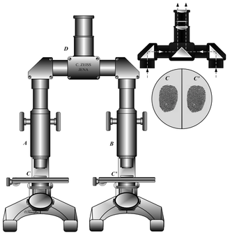 Comparison microscope - In a comparison microscope, two identical microscopes are connected to a single comparison eyepiece. The viewer sees the images from both microscopes next to one another, as in the inset image.