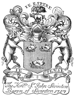 Fig. 739.—Bookplate of Sir John Swinton of that Ilk, 1707.