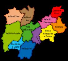 A destra, in arancione, la comunità comprensoriale di Primiero