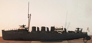 HMS Spiteful (1899) - A model of HMS Spiteful, built in about 1904: whereas the model has three funnels, the ship had four, with the central two thinner and grouped as a pair