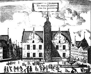Gammeltorv - The city hall at Gammeltorv as it appeared after the rebuilding in 1610 as seen from Gammeltorv