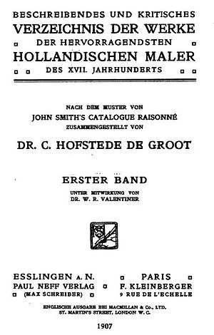 Cornelis Hofstede de Groot - Title page of the first volume in German in 1907