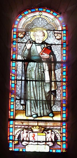 Peter Fourier - Stained glass window depicting St. Peter Fourier, C.R.S.A., with the white sarozium of a canon regular Church of Saint Martin Coulaures, Dordogne, France