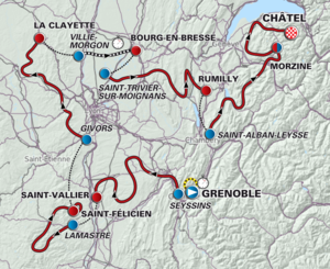 The route of the 2012 Critérium du Dauphiné