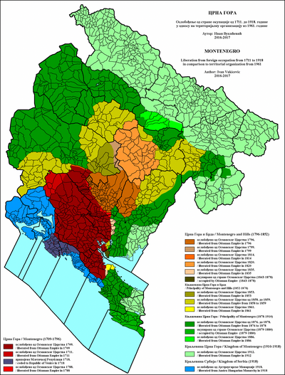 Liberation of Montenegro from foreign occupation from 1711 to 1918 Crna Gora - Oslobodjenje od strane okupacije 1711-1918.png