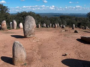Almendres Cromlech - The Cromlech of the Almendres overlooking the civil parish of Nossa Senhora de Guadalupe