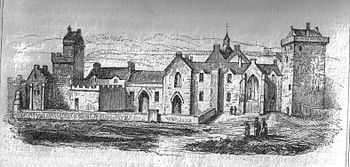Black and white sketch of an abbey; landscape is in background, with five people in the foreground depicted going about their business
