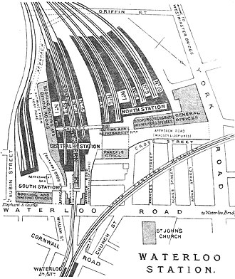 London Waterloo station - Plan of Waterloo station in 1888