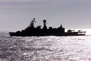 HMS Fife (D20) - Chilean destroyer Blanco Encalada gets underway from Valparaiso, during Exercise Teamwork South '99