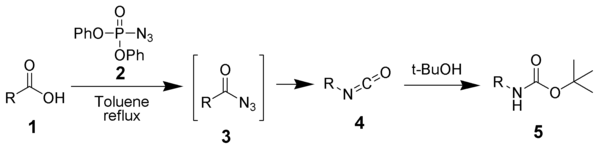 Using DPPA to convert an acid to a BOC-protected amine