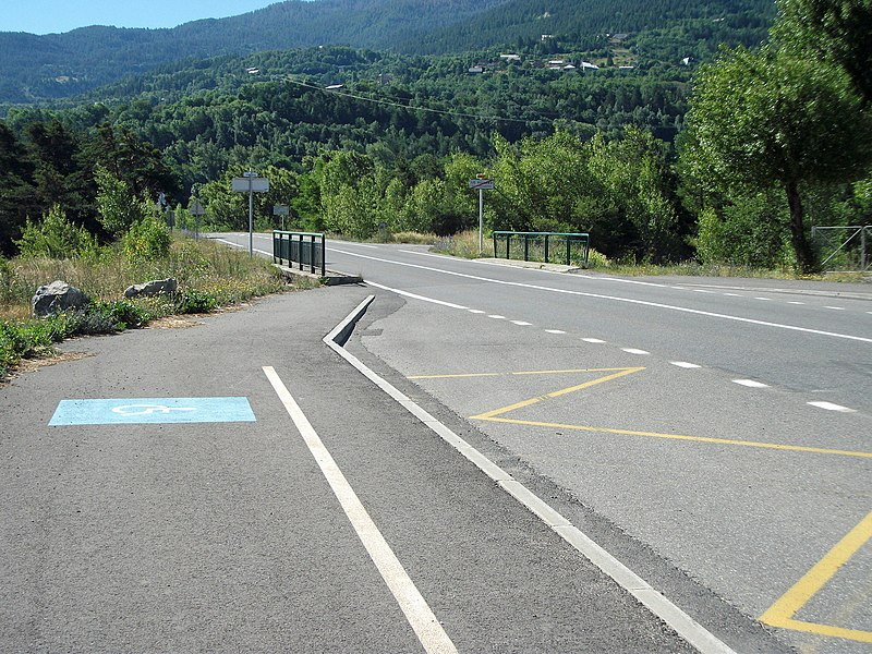 Departmental road 902A in Le Villard, Guillestre, Hautes-Alpes, France. Direction town centre, Risoul and Vars [11076]