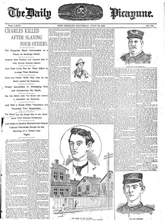 Robert Charles riots - Front page of the New Orleans Daily Picayune, July 28, 1900, after Charles was killed