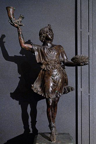 Lares - Bronze Lar holding a rhyton and patera, 1st century AD (Capitoline Museum)