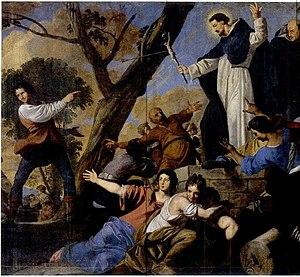 Daniel van den Dyck - St Dominic accompanied by Simon de Montfort raising the crucifix against the Albigensians